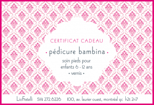 Certificat Cadeau Pédicure Bambina