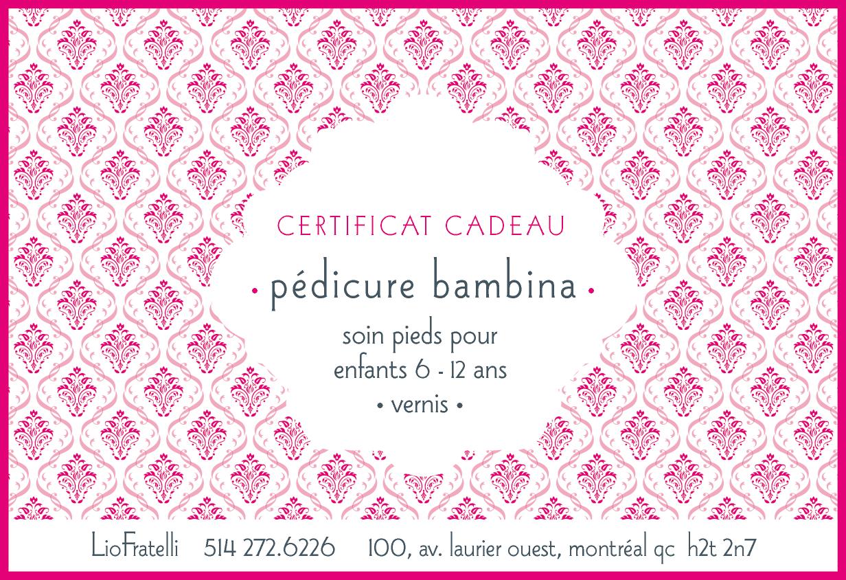 Certificat Cadeau Pedicure Bambina
