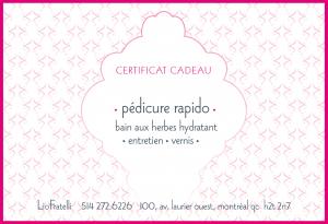 Certificat Cadeau Pédicure Rapido