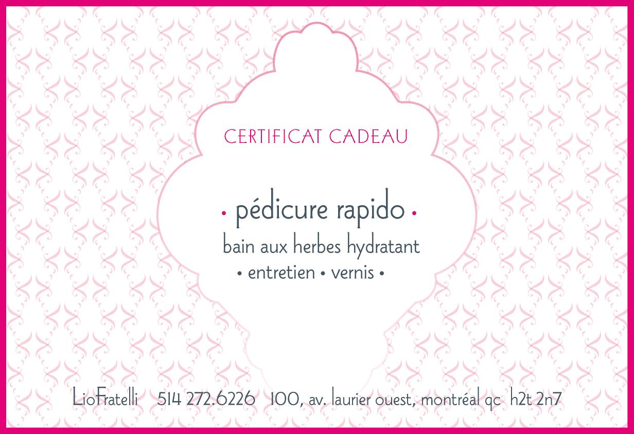 Certificat Cadeau Pedicure Rapido