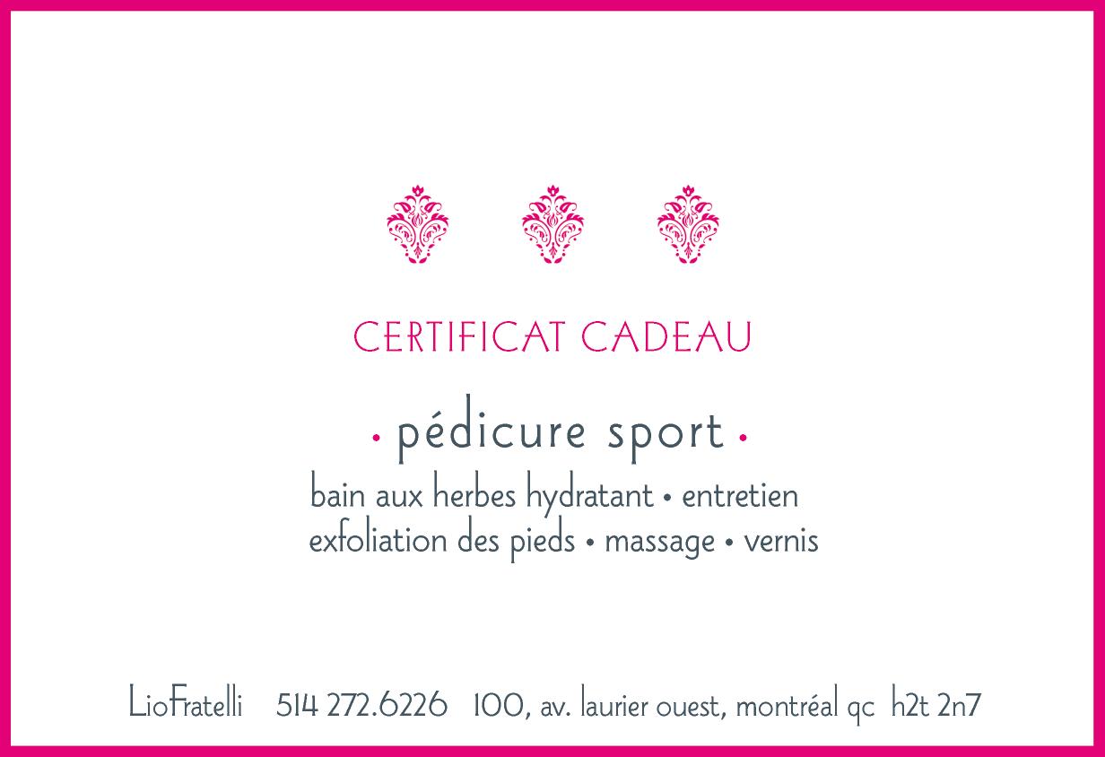 Certificat Cadeau Pedicure Sport