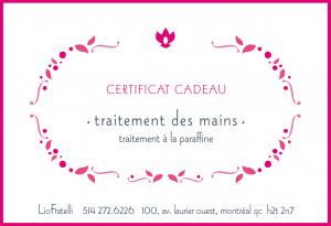 Certificat Cadeau Traitement Des Mains